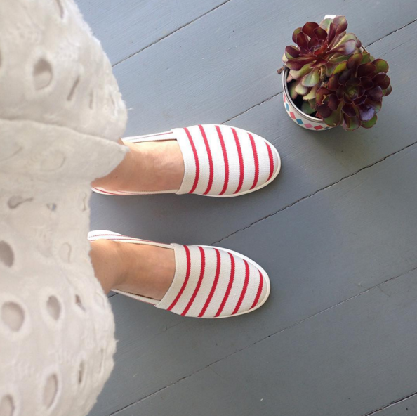 Stop press- I've found the perfect summer shoes. Espadrilles by Deuce. Tangerine Fitbit, Red Door Red by Elizabeth Arden, Big Apple Red by OPI, ring by Karen Walker.