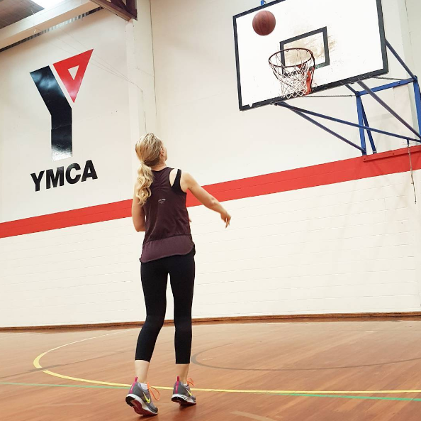...and mummy having a go! At YMCA Basketball Academy