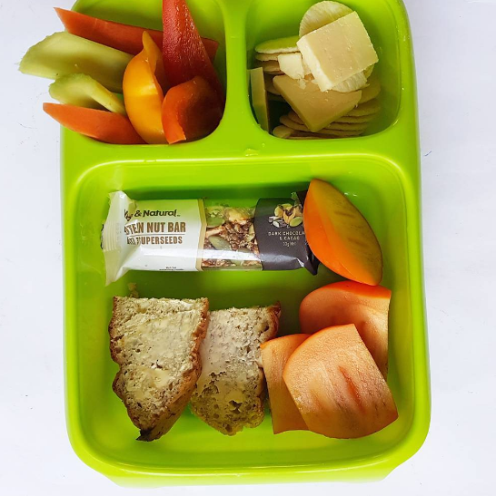 Here's our lunchbox today with banana bread I made, and protein nut bar with less than 4g of sugar.