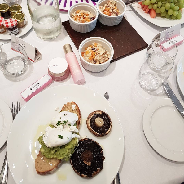 Yum- smashed avocado and poached eggs for breakfast at Sofitel this morning with Clarins.