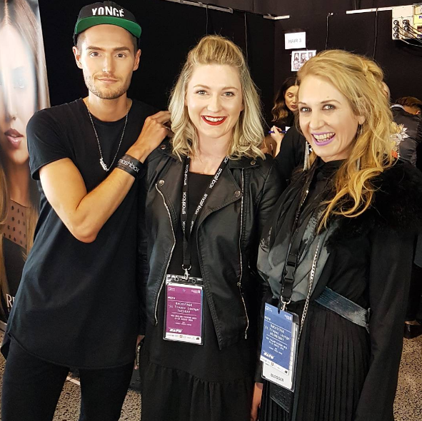 Backstage with makeup artist Grayson Coutts, and Chelsea Cresswell of FAB group. I'm wearing a gorgeous pleated dress by Mesop.