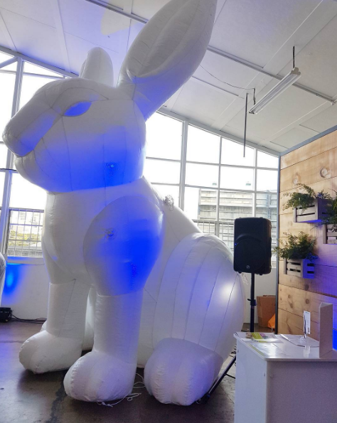 The giant inflatable bunny in the room. At Ultraceuticals beauty launch at Eat My Lunch.