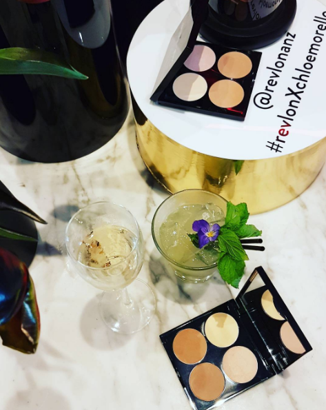 At Soul Bar for cocktails at the media launch of Revlon colab with Australian blogger mega star, Chloe Morello, with this new contour kit in light medium or medium dark colourways