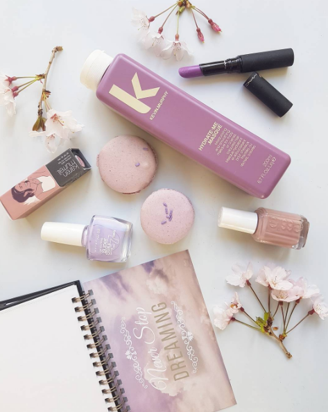 Lovin' in lilac. Warehouse Stationery phrases book, Karen Murrell lavender laughter lipstick, Maybelline Superstay Eternal lilac nailpolish, Essie Lady like nailpolish, Kevin Murphy Hydrate Me Masque, MAC Strutting Fabulous matte lipstick, macarons from Sleepyhead event goody bag.