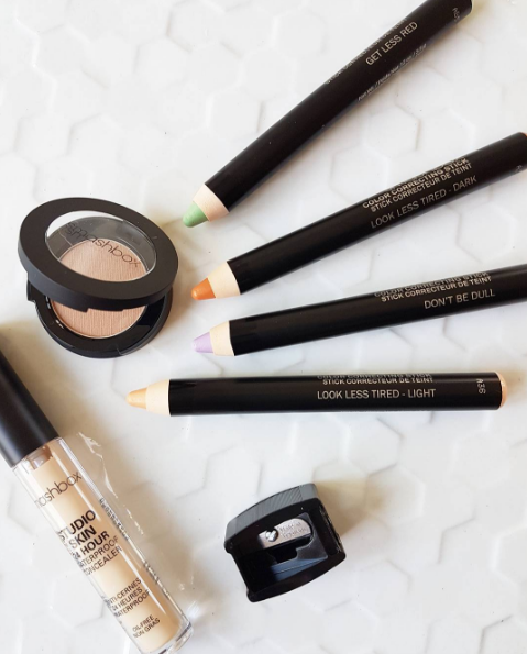 Beautiful new makeup from Smashbox Cosmetics: Studio Skin 24hr concealer, Photo Op eyeshadow singles, and Colour Correcting Sticks in Look Less Tired, Don't Be Dull, and Get Less Red.