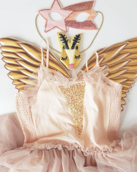 Rose gold wings and blush party dress from Cotton On Kids.