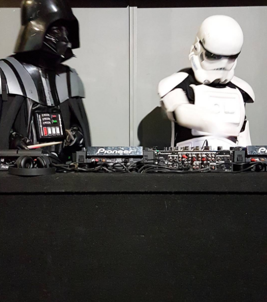 Darth and Storm (actually the Sweet Mix Kids) djing at the premiere of Star Wars Rogue One.