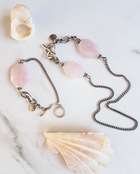 Rose quartz and burnished silver jewellery by @migliodesignerjewellery