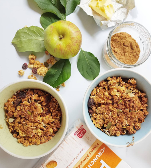 My life hack apple crumble is protein granola baked on top of cooked apple with a knob of butter.