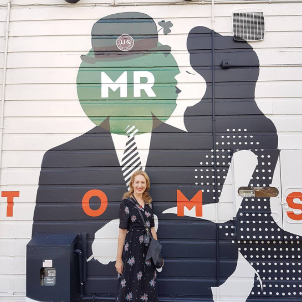 Off to The Kitchen by Mr Tom's for the bistro dinner menu with the husband and I love that their wall has my initials - MR - on it! Dress by @tuesdaylabel