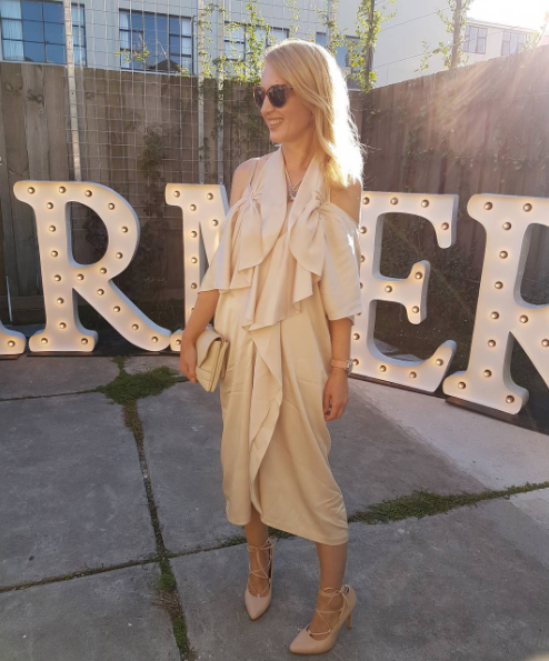 What I wore today. At #farmersnz AW17 media showcase. Pic thanks to @thesleekavenue. #Dress by #BCBGMaxAzria, #shoes from #MiPiaci, #sunglasses #AlexPerry for #Specsavers, #clutch #SeedHeritage, #necklace by #Miglio #jewellery.