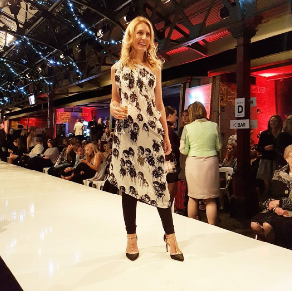On the catwalk...jokes, it's actually intermission. I'm wearing @maaikeclothing photo by Kaitlin of Apparel mag. Thankyou @revlonanz for my makeover by the fabulous Sarah Tunnicliffe.