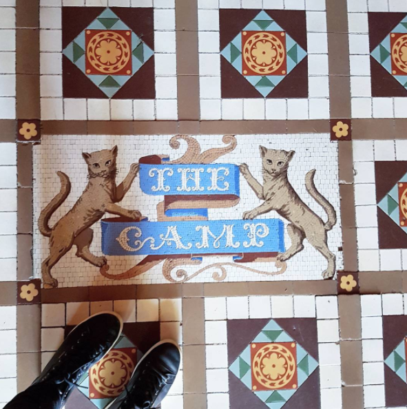 A mosaic cat tiled floor at Larnoch Castle as their family crest had four Scottish cats on it; now I REALLY love this place.