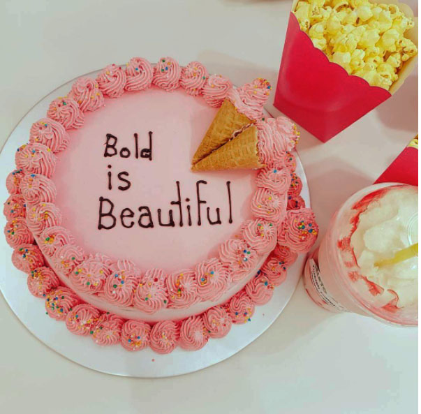 Benefit Cosmetics icecream cake from Ben & Jerry's for today's launch of Bold is Beautiful charity initiative for Look Good Feel Better