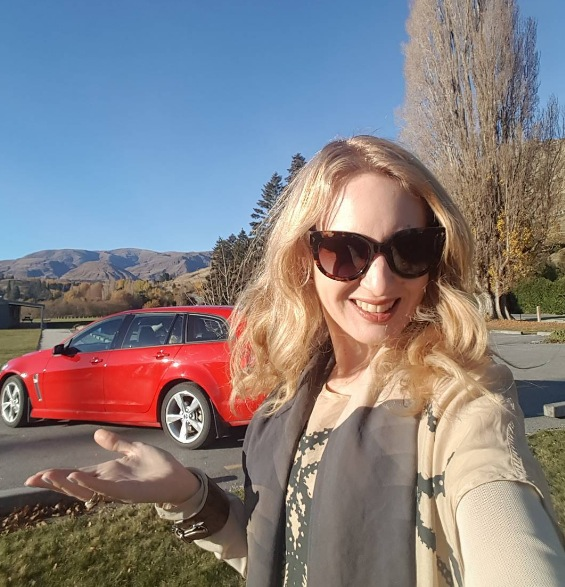Lake Hayes While The Sun Shines! My version of the old proverb; Make Hay While The Sun Shines. Introducing my sweet ride in Queenstown, whom I affectionately call Holden Caulfield Commodore, thanks to @avisnewzealand! I'm wearing: sunglasses by Prada, top and scarf by Cybele, lipstick Queenstown Hot Chocolate by Antipodes.