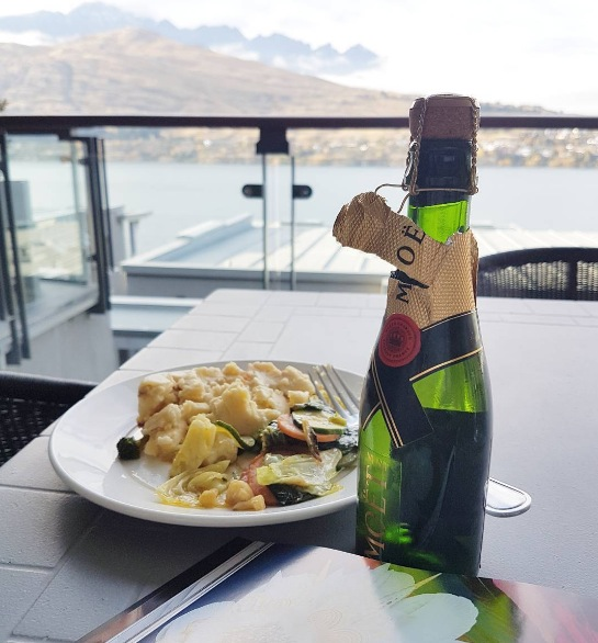 Happy mother's day at @thereeshotel Queenstown. The husband bought me a mini Moet and made breakfast. Can't beat this view!