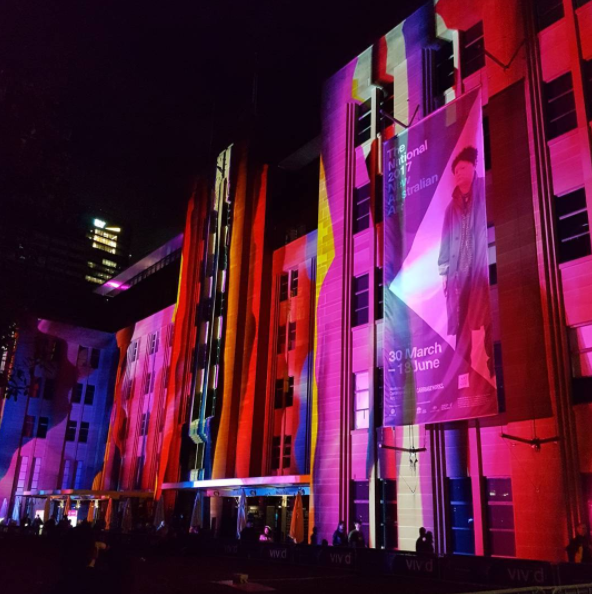 Museum of Contemporary Art illuminated beautifully for #vividsydney on the Sydney Harbour waterfront
