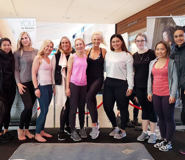 Doing a yoga class with Chrystal Chenery in our Skechers today at Albany with these babes! #youbyskechers
