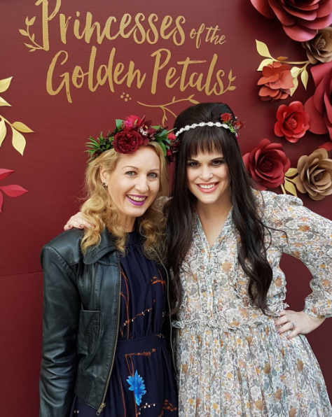 With the gorgeous Karen Murrell at her lipstick event launching 5 new shades, including 2 metallics, entitled Princesses of the Golden Petals. Wearing flower crowns by Florienne Florist, flower arch @florienne.flowers and @mcoomey, my jacket and dress vintage.