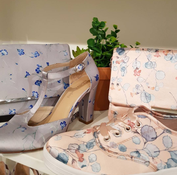 Isabella Anselmi shoes and bags with a print by local Whitecliffe art student Kohl who pressed native flowers to design this beautiful print.