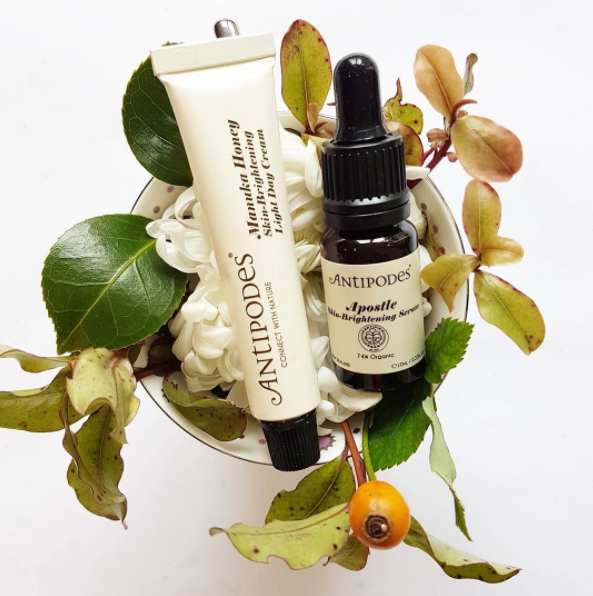 Antipodes gorgeous natural skincare; made in New Zealand from active botanicals and cruelty-free. Manuka Honey Skin Brightening Day Cream and Apostle Skin Brightening Serum.