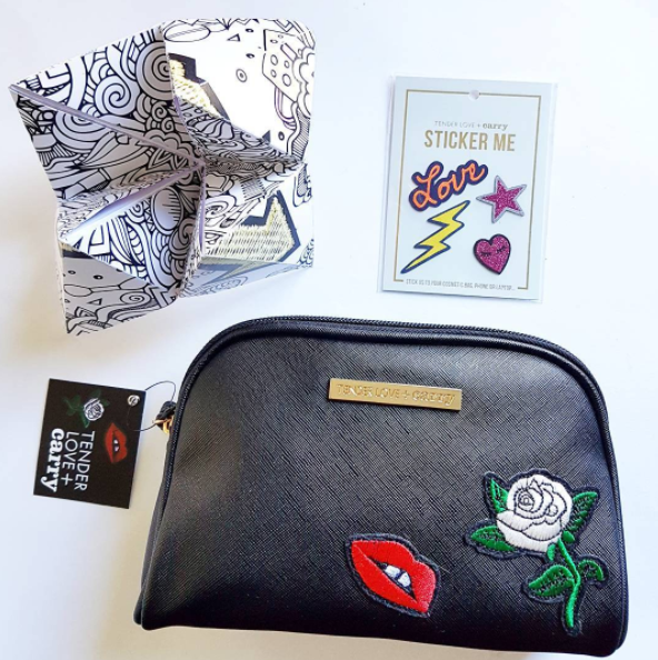 How cute is this Tender Love and Carry makeup purse with customisable stickers you can apply as you choose? Also enjoyed that they sent the press release folded as a chatterbox, very original.
