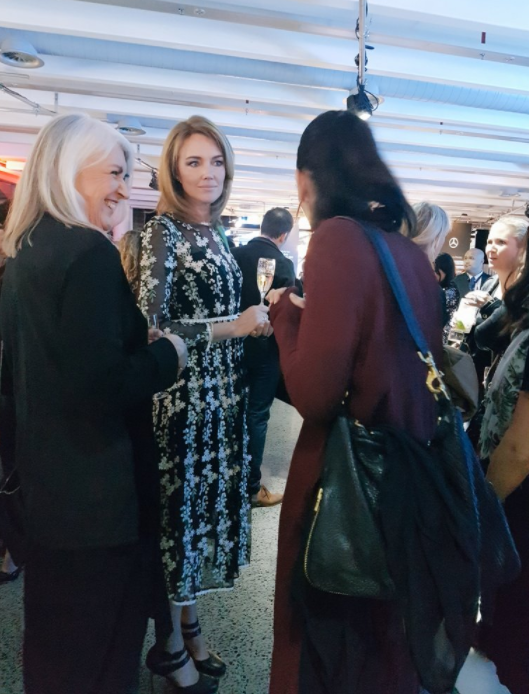 Petra Bagust, Judi Bagust and Jacinda Adern at NZFW opening party.
