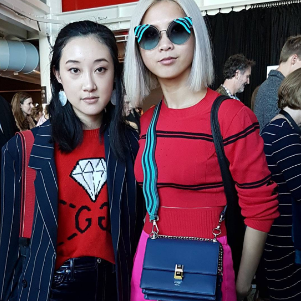 The gorgeous and every-stylish bloggers Nicole Ku of Nicrific, and Aki of The Sleek Avenue, at fashion week.
