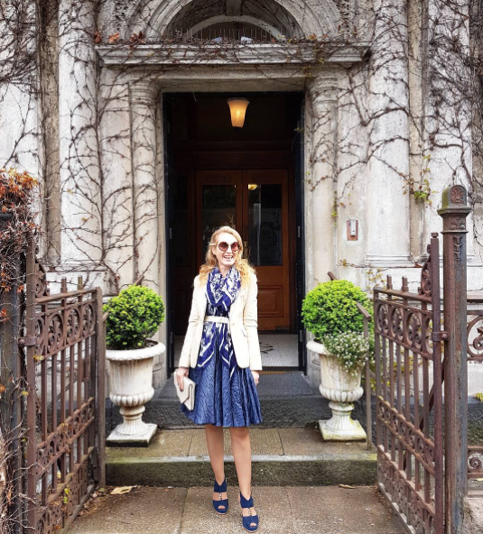 What I wore today. Best backdrop ever- the Northern Club, for Clarins fragrance launch. Photo by Melissa Jack @thebestnest I'm wearing a Karen Walker dress, scarf, and belt, cream leather vintage blazer, clutch by Seed Heritage, and shoes by Kathryn Wilson.