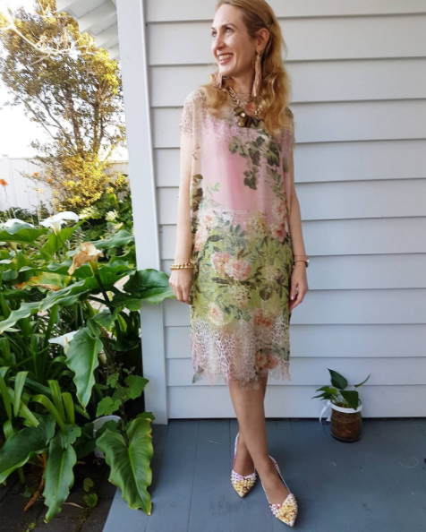 Florals for Spring. Outfit: dress I sewed, over Trelise Cooper sequin shorts. Kathryn Wilson footwear. Necklace and bracelet Shh by Sadie.