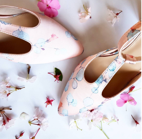 Merchant 1948 shoes, using the watercolour pressed flower paintings of artist Kohl Tyler-Dunshea