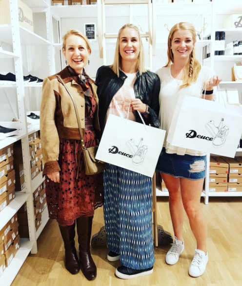 I'm with Melissa Jack @thebestnest and Tarryn Donaldson @iamtarryndonaldson being se-deuced (ha ha) by amazing shoes at Deuce pop-up opening party in Teed St Newmarket. @deucesneakers is a street wise shoe brand in the Overland Merchant 1948 family, and is designed in New Zealand with quality and super comfortable construction not to mention very cool styles.