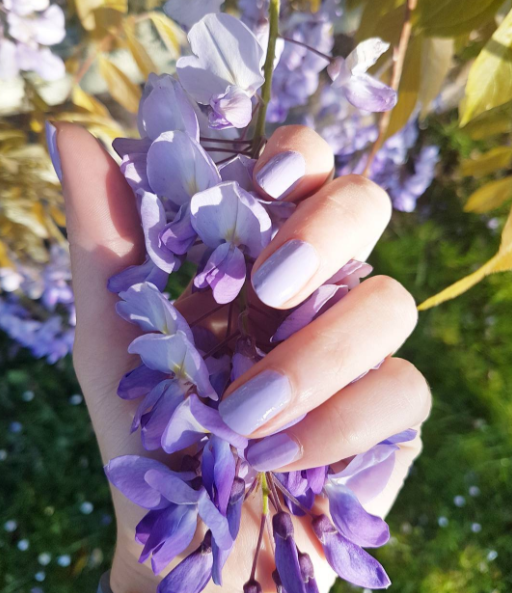 I'm loving the beautiful wisteria blooms out for Spring. On my nails; designer brands quick colour nail polish in Lovely Lilac.