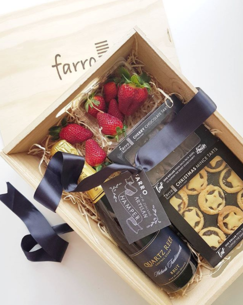 A hamper of strawberries and champagne and Christmas tarts? Perfect as always, Farro