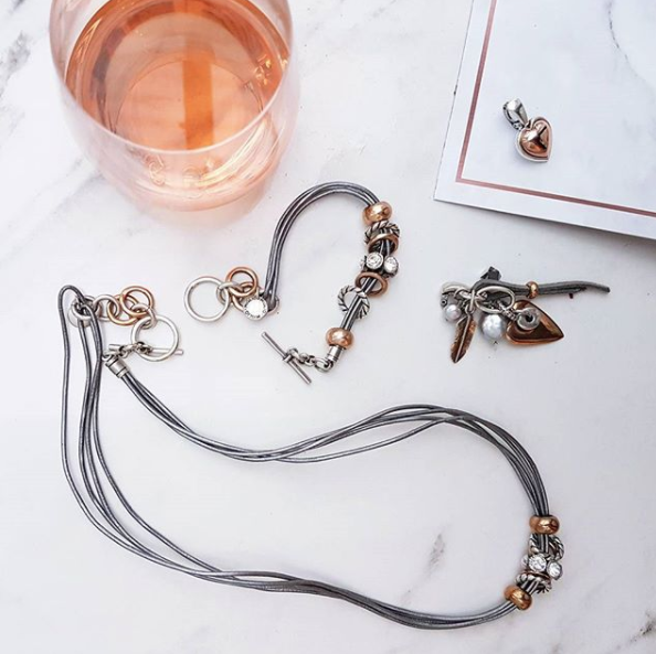 Wine and jewellery? Don't mind if I do. Miglio Jewellery handmade by artisans with cultured pearls, silver, leather, and Swarovski Crystal.