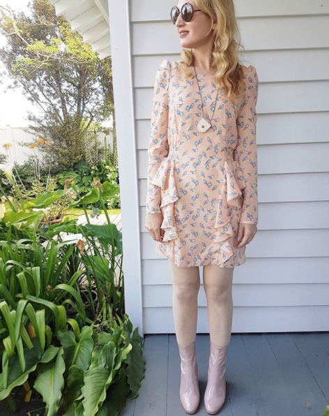 What I wore today: peach dress with birds by Mind Bridge, blush patent boots by Number one shoes.