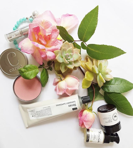 Gorgeous beauty products all from @tvsn, succulents and roses from my garden. Featuring Cargo cosmetics blush, Sanskrit Saponins, Nourish London, Beauty Fix.