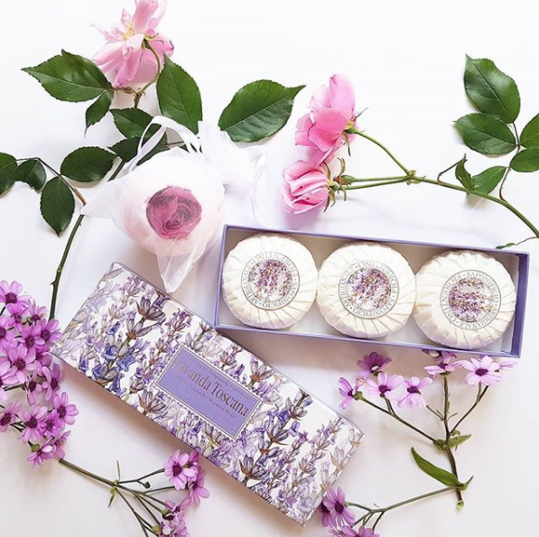 Mmmm I adore lavender fragrance! Beautiful European made gifts by Fiorentino and Isabelle Laurier. Fiorentino uses lavender from Tuscany Italy in its Lavanda Toscana soaps made on site in Tuscany ($16.99 a box of 3) and Isabelle Laurier bath bomb is inlaid with a confetti rose ($7.99) at Farmers and selected pharmacies, ideal for Christmas.