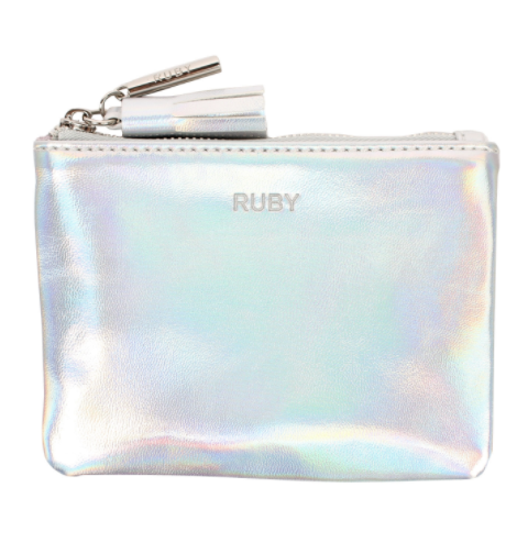 RUBY holographic coin purse with silver hardware, embossing and tassel