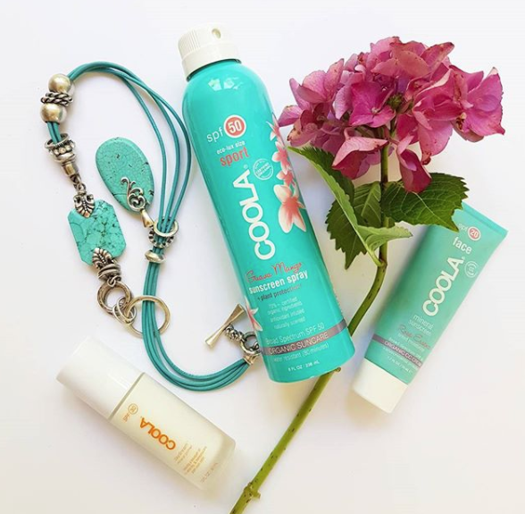 This stuff is amazing and I use it everyday on my kids; COOLA organic suncare spray on sunscreen. I'm wearing the rose tinted face moisturiser CC cream today and it gives a light coverage with SPF20 protection. Their daydream mineral primer has SPF 30 too so you layer skin products, for more sun protection.