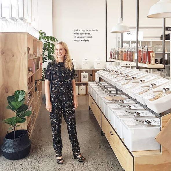 At Good For wholefoods brand new store in Parnell near La Cigale markets. Reduce your packaging. I'm wearing Stitch Ministry, leather shoulder bag by Saben, and shoes by Kathryn Wilson. Photo by Zoe of @goodforstore